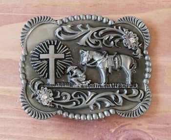 "Buckle  "" Cowboy mit Pferd am Grab beten """