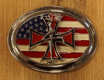 """Gürtelschnalle  """" Kreuz + Amerikanische Flagge Oberfläche """""""
