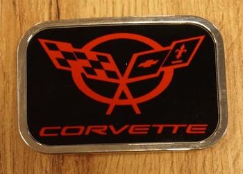"Automarke Schnalle  ""  Corvette ""   Schwarz / rot"