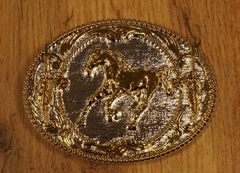 "Buckle "" Laufendes Pferd  ""  Silber / gold farbe"