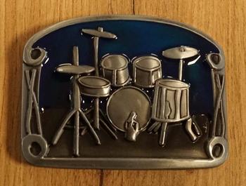 """Gürtelschnalle  """" Schlagzeug  """"  Blau"""