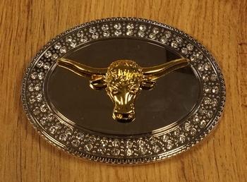 """Gürtelschnalle  """" Longhorn """" Silber / Goldfarbe"""