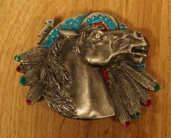 "Buckle ""  Hufeisen mit Pferdekopf  ""  Silber / Goldfarig"