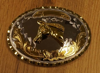 """Buckle """"  Pferdekopf auf Blumenschild  """"  Silber / Goldfarig"""
