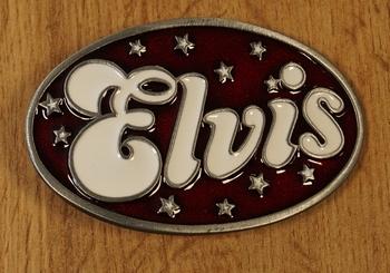 """Belt buckle  """" Elvis """"  Weiss / Rot"""