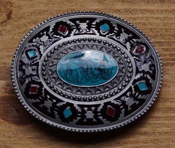 """Gurtelschnalle """" Navajo Motiv mit Blauer stein """""""