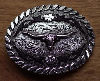 "Buckle "" Longhorn "" Schwarzes leder / Silber Farbe"