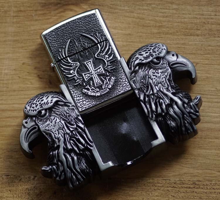 """Belt buckel with lighter """" Cross and Eagle """""""