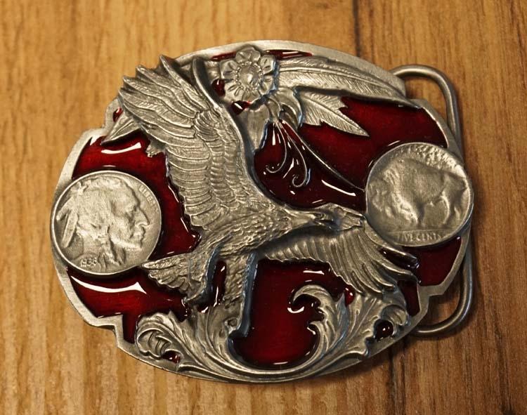 """Belt buckle  """" Adler mit Münzen """"   Rot"""
