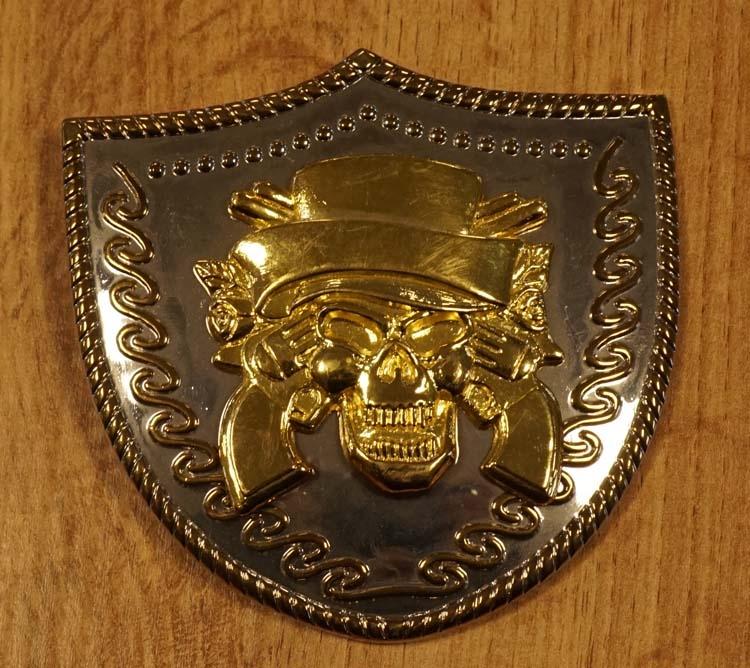 "Belt buckle  "" Death's head with Guns ""  silber / goldfarben"