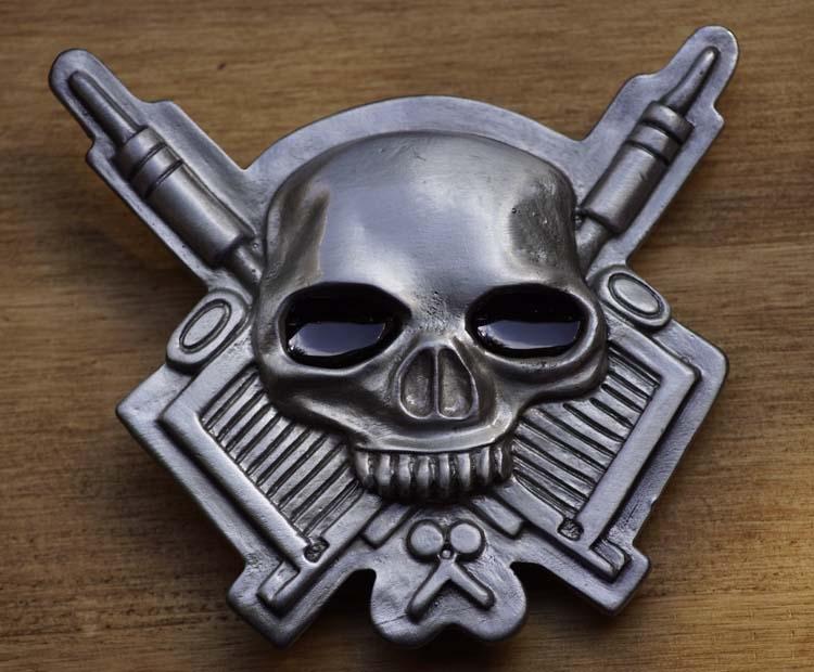 "Belt buckle  "" Death's head with Guns """