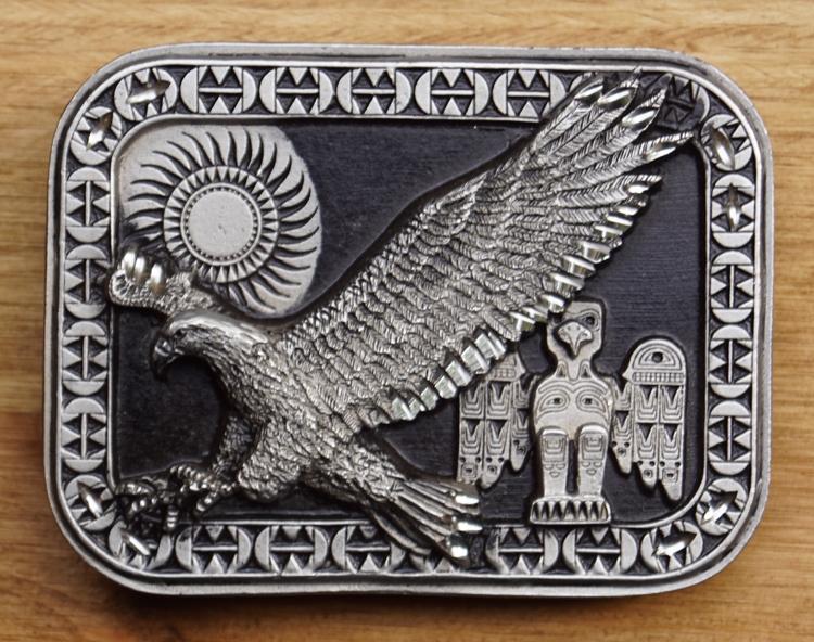 """Belt buckle  """" Eagle """"   Black / silver colored"""