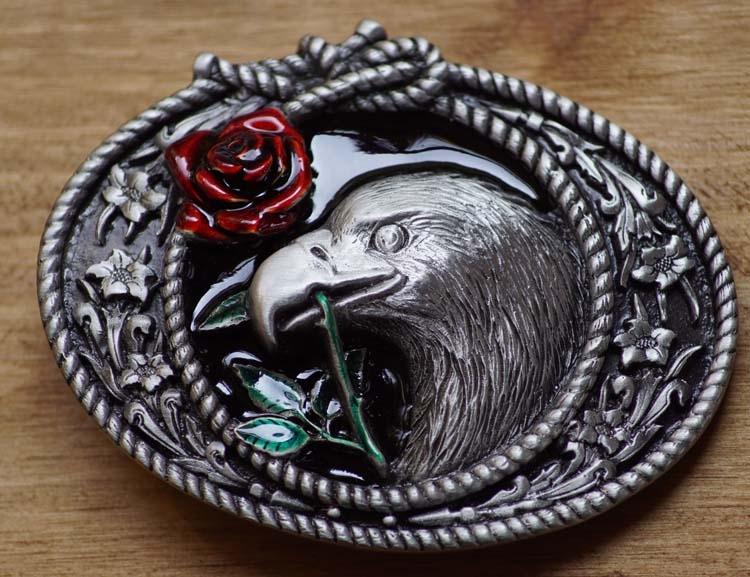 "Belt Buckle  "" Eagle in Frame with rose """