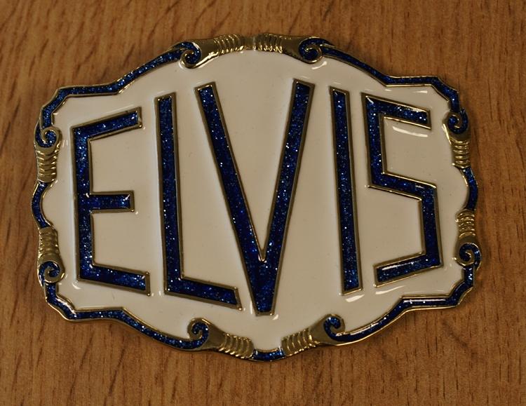 """Belt buckle  """" Elvis """"  Weiss / blau"""