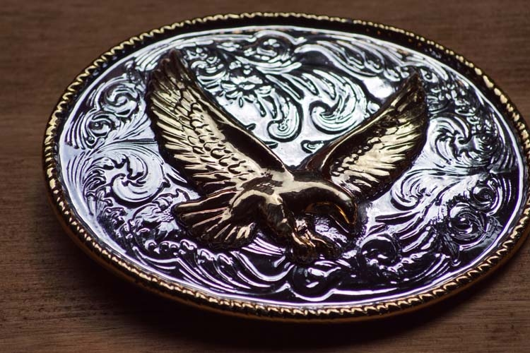 "Belt buckle  "" Flying Eagle ""  Silver / Gold colored"