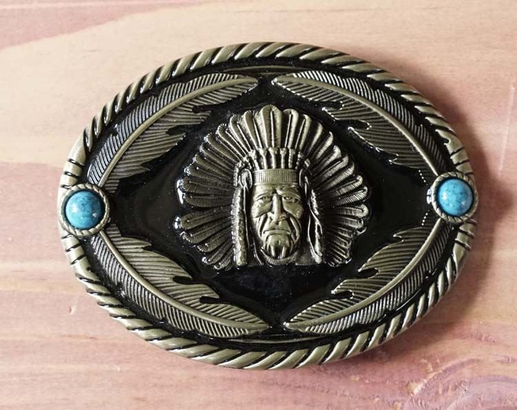 """Belt buckle  """" Indianer mit Federn """""""