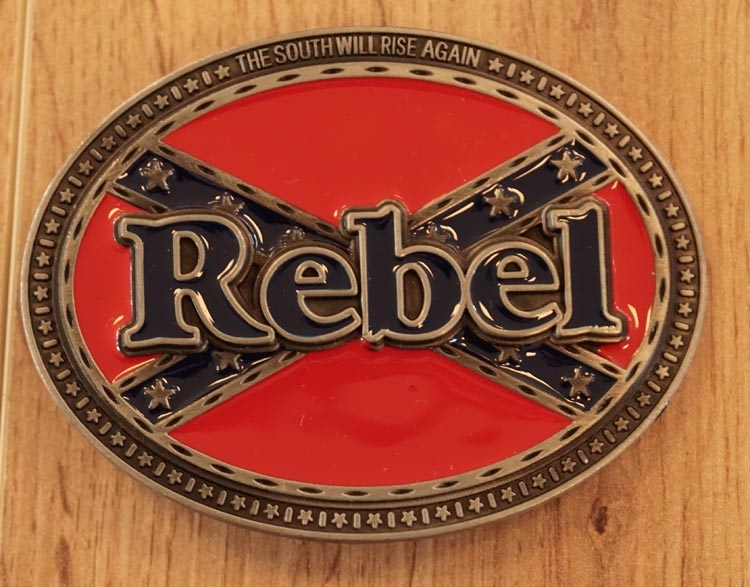 "Belt buckle  "" Rebelflagge mit rebel """