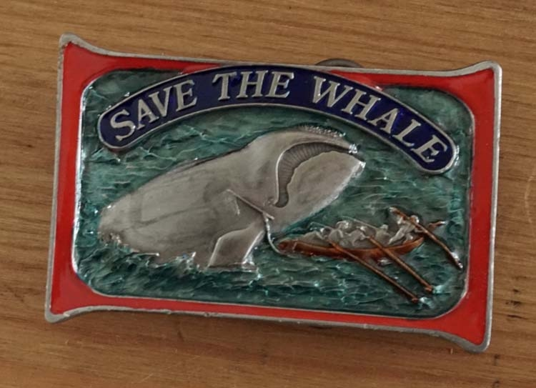 "Belt buckle  "" Save the whale """