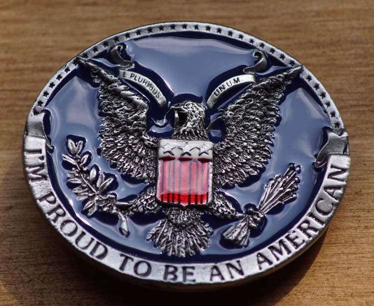 """Belt buckle  """" Stolz, Amerikaner zu sein """""""