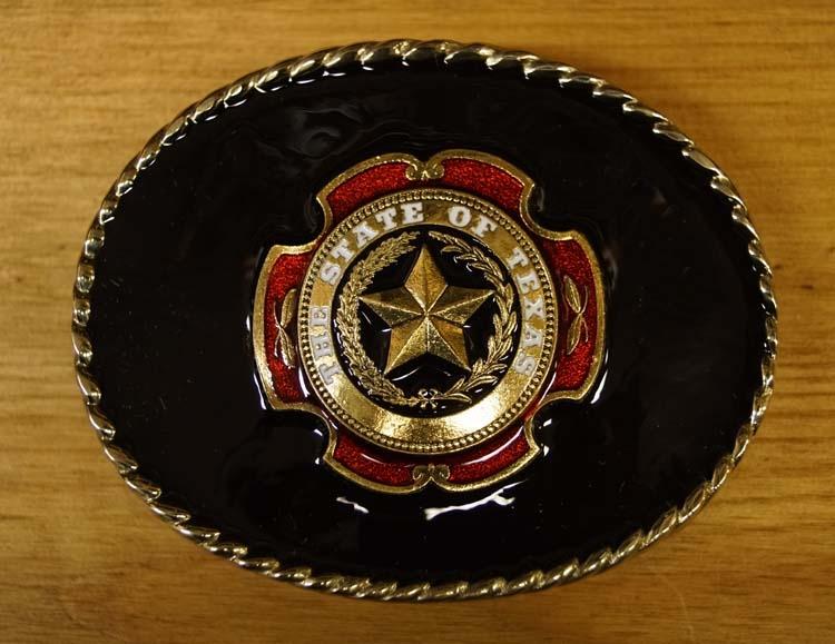 """Belt buckle  """" The state of Texas """"  Hintergrund schwarz"""
