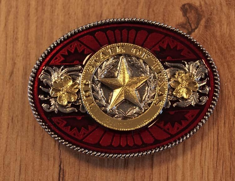 """Belt buckle  """" The state of Texas """" Rot / Gold  AUSVERKAUFT"""