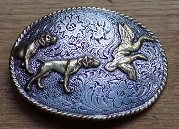 "Belt buckle "" Hunting dogs "" ( Entenjagd mit Hund )"