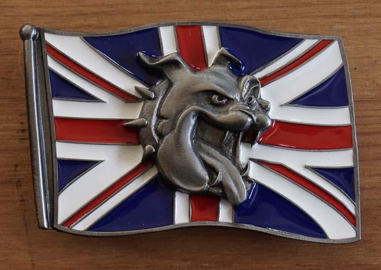 """Buckle  """" Britische Flagge mit Bulldoggenkopf """""""