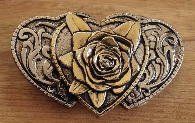 """Buckle  """" Herzen mit Rose """"  Silber- / gold farbe"""