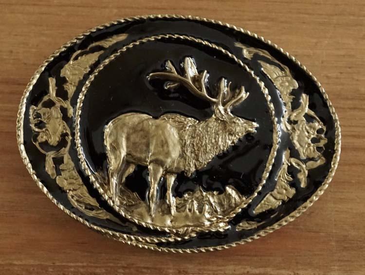 """Buckle  """" Hirsch """"  Schwarz / Gold Farbe"""