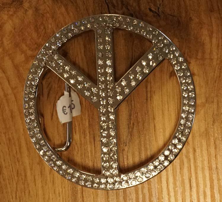 """Buckle  """" Peace zeichen """" strass"""