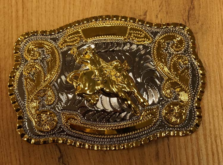 """Buckle  """" Rodeo """"   Silber / Gold farbig"""