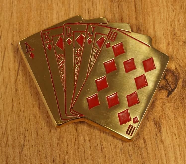 "Buckle  "" Spielkarte Pokerhand ""  Goldfarben"