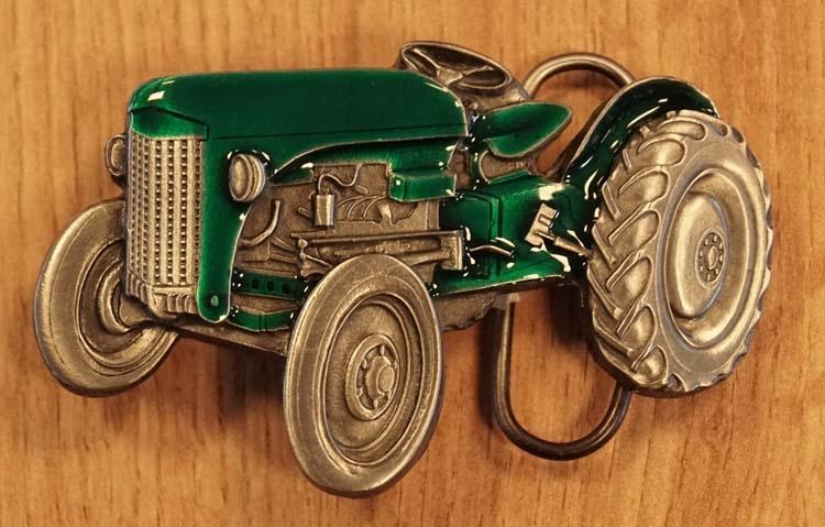 """Buckle  """" Traktor """" Grün /  Nickelfarben"""