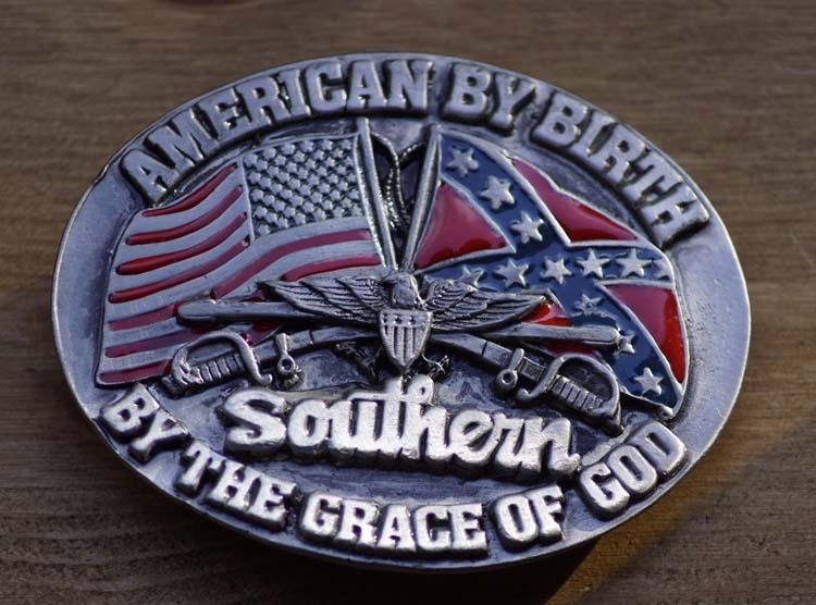 "Buckle  ""American by Birth, Southern by the grace of god"""