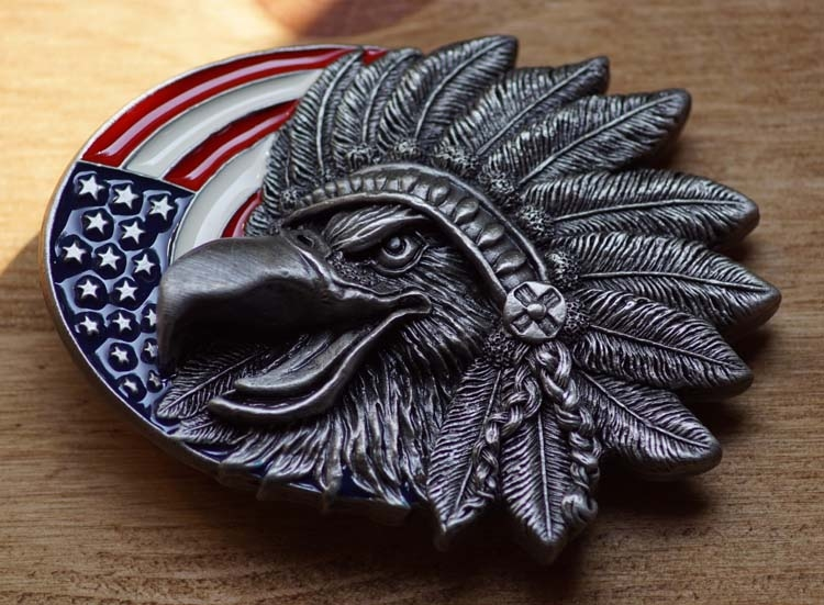 "Buckle "" Eagle Kopf mit Kopfschmuck Amerikanischer Flagge """