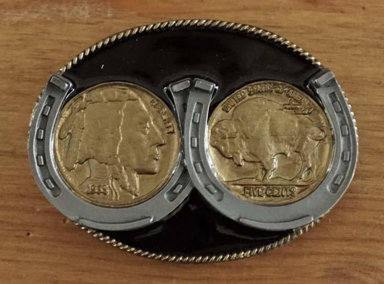 """Buckle """" Münze five Cents Indianerkopf und Bison """" Gold"""