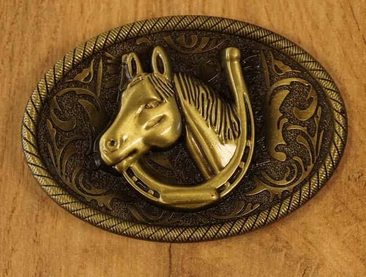 "Buckle "" Pferdekopf im Hufeisen "" Kupferfarben"