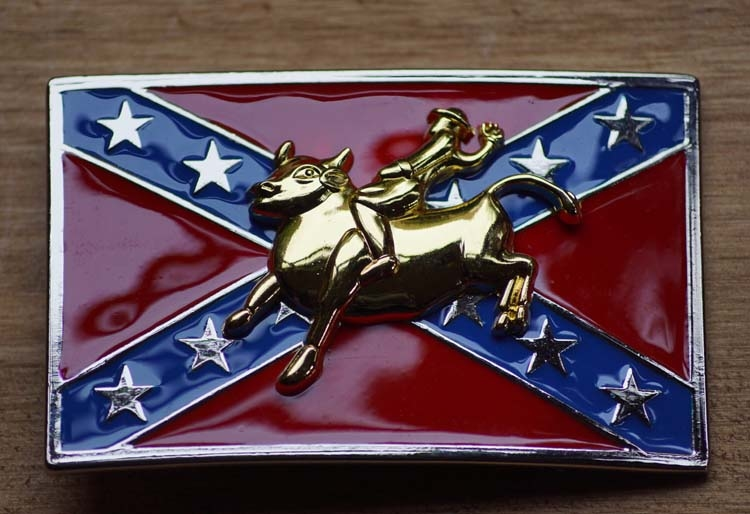 """Buckle """" Rodeo rider on rebel flag """""""