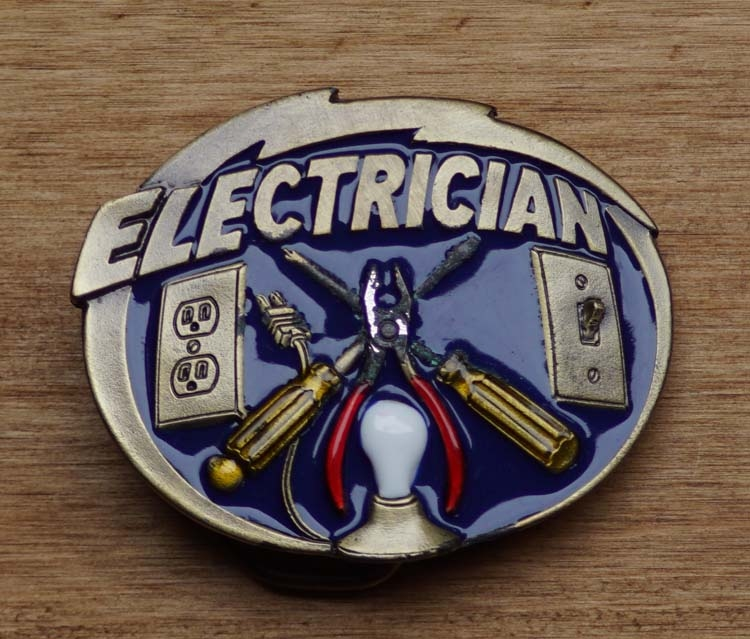 "Dekorative Schnalle  "" Electrician ""  ( Electriker )"
