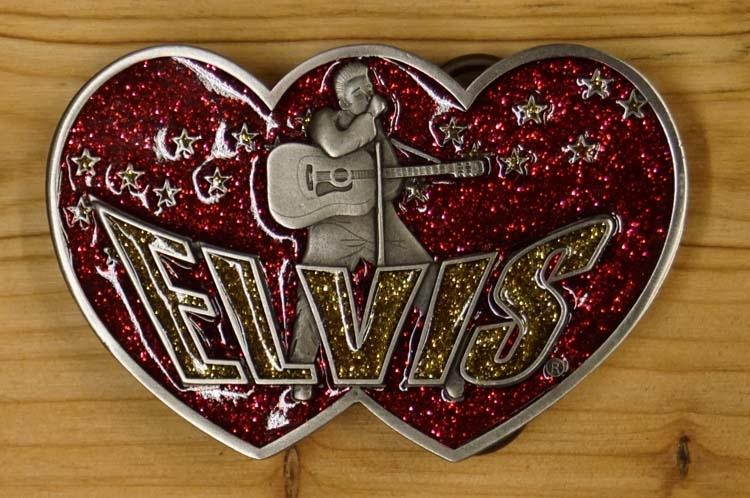 """Elvis Schnalle  """" Elvis mit gitarre """"  Rot / Gold glitzern"""