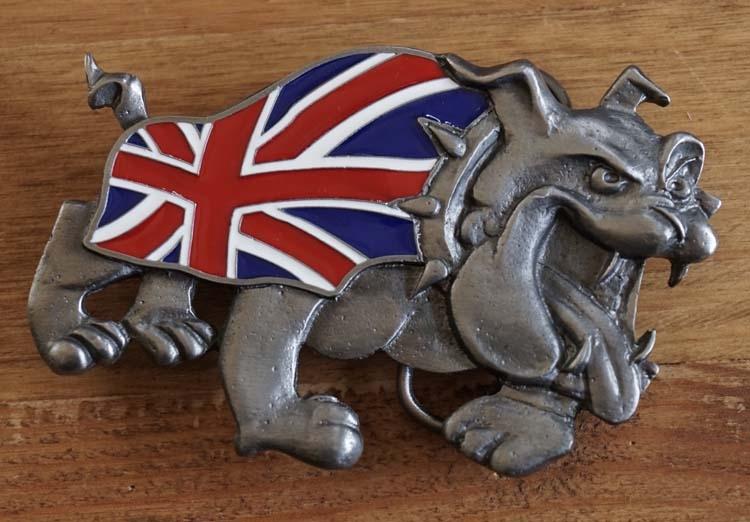 """Gürtelschnalle  """" Bulldogge mit Britische Flagge """""""