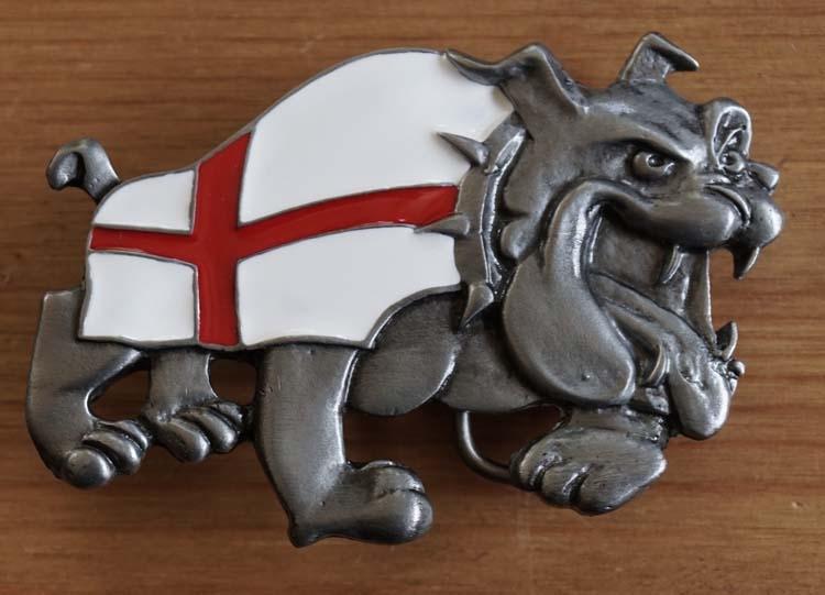 """Gürtelschnalle  """" Bulldogge mit Britsche Flagge """""""