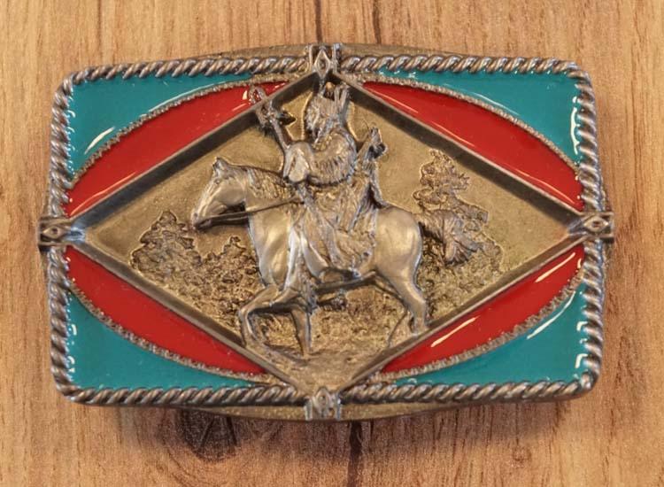 """Gürtelschnalle  """" Indianer mit Pferd """""""