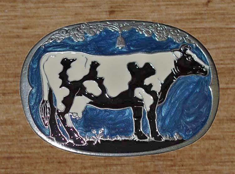 """Gürtelschnalle  """" Kuh """"  Delfs blau"""