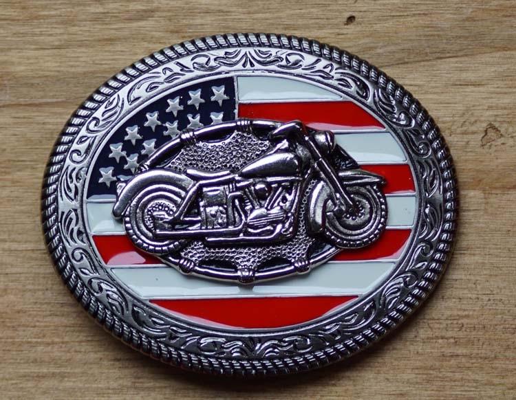 """Gürtelschnalle  """" Motor mit Amerikanische Flagge """""""