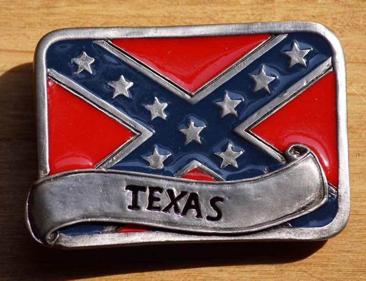 """Gürtelschnalle  """" Rebellenflagge Texas """""""