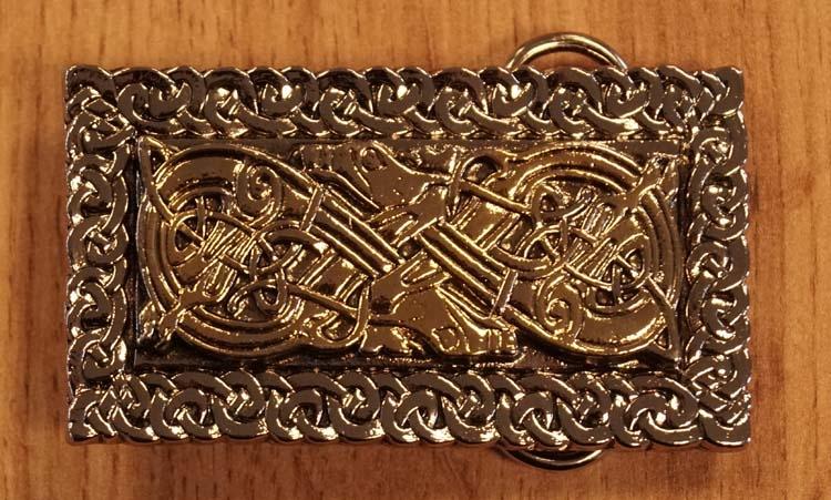 "Gürtelschnalle  "" Twin dogs ""  Silber- / Gold Farben"