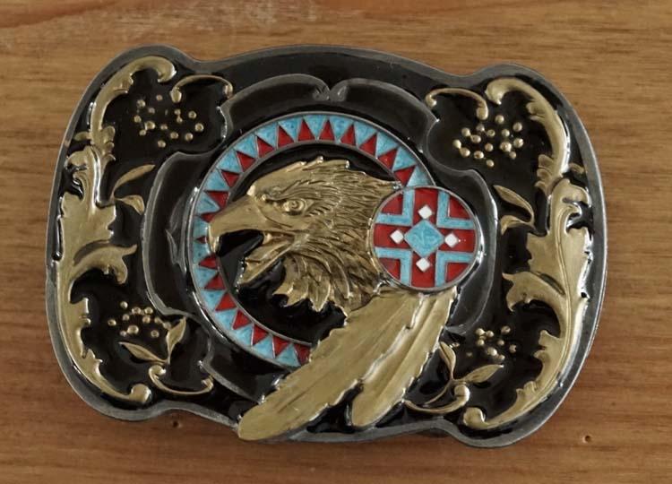"""Gürtelschnalle """" Adler auf mandela """" Schwarz / Gold Farbe"""