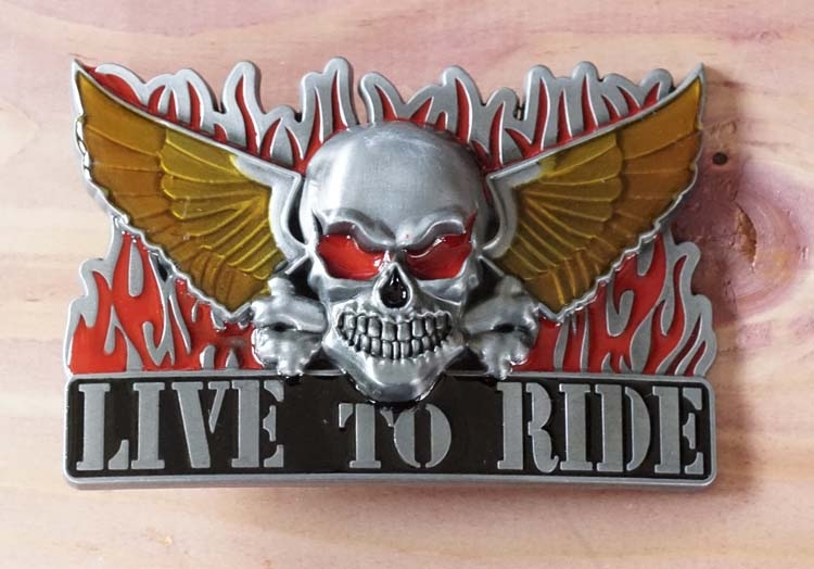"Gürtelschnalle "" Live to ride """