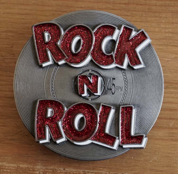 "Gürtelschnalle "" Rock & Roll ""    Rot"
